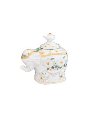 Чайница Белый шиповник Elan Gallery. Цвет: белый, зеленый