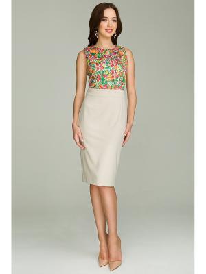 Платье La vida rica. Цвет: бежевый, розовый, зеленый
