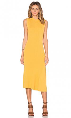Платье миди florence AGAIN. Цвет: желтый