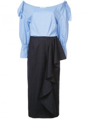 Платье миди Chrissie Rejina Pyo. Цвет: синий