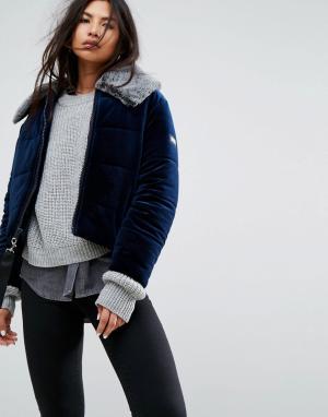 Puffa Бархатная куртка с воротником из искусственного меха. Цвет: темно-синий