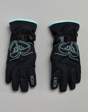 Roxy Черные горнолыжные перчатки Poppy. Цвет: черный