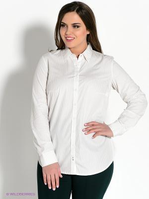Рубашка Oodji. Цвет: бежевый, белый