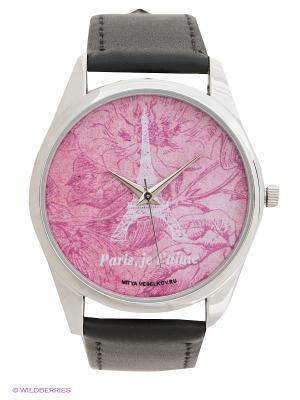 Часы Mitya Veselkov Эйфелева. Цвет: розовый, черный
