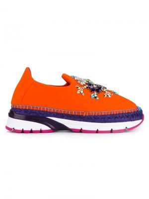 Декорированные кроссовки-слипон Dolce & Gabbana. Цвет: жёлтый и оранжевый