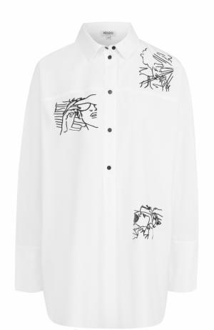 Блуза свободного кроя с контрастной вышивкой Kenzo. Цвет: белый