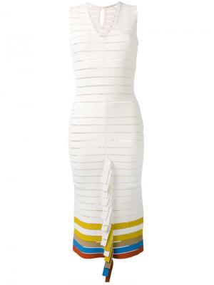 Вязаное платье со складчатой отделкой Marco De Vincenzo. Цвет: телесный