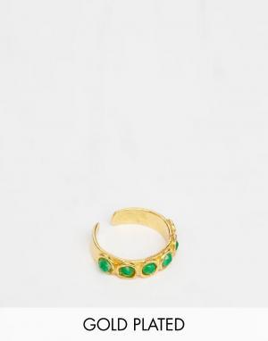 Ottoman Hands Кольцо на ногу с отделкой зелеными камнями. Цвет: золотой