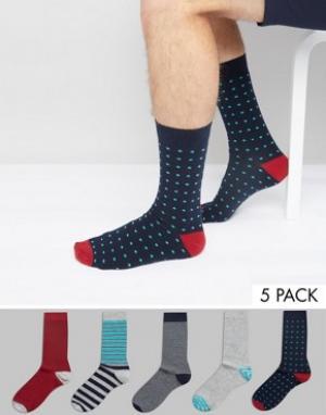 Urban Eccentric Набор из 5 пар носков в полоску и горошек. Цвет: мульти