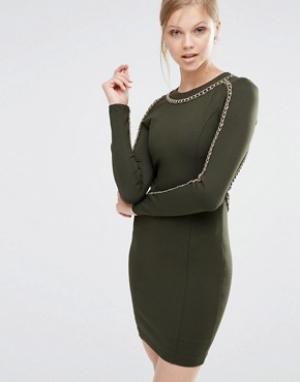 Forever Unique Облегающее платье с длинными рукавами и отделкой цепочкой Uniq. Цвет: зеленый