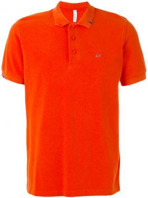 Футболка-поло с контрастным логотипом Sun 68. Цвет: жёлтый и оранжевый
