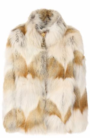 Укороченная шуба на молнии из меха койота Marc Jacobs. Цвет: разноцветный