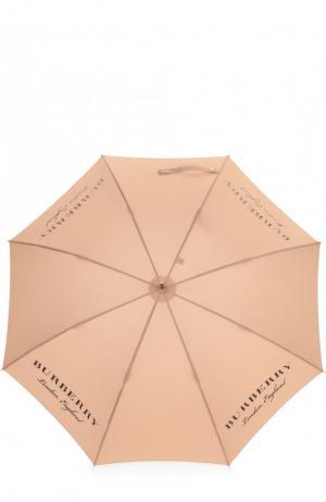 Зонт-трость с логотипом бренда Burberry. Цвет: бежевый