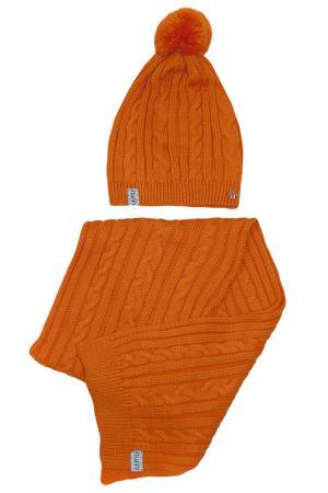 Комплект: шапка и шарф FLUFFY SHOPS. Цвет: оранжевый