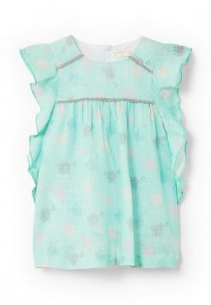 Платье Mango Kids. Цвет: бирюзовый