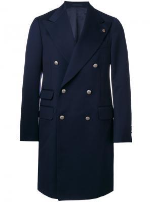 Двубортное пальто Gabriele Pasini. Цвет: синий