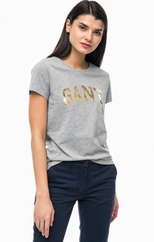 Хлопковая футболка с логотипом бренда Gant. Цвет: серый