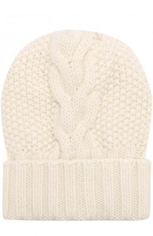 Шапка фактурной вязки из кашемира Kashja` Cashmere. Цвет: белый