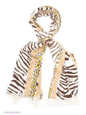 Платок Sabellino. Цвет: темно-коричневый, белый, бежевый, желтый