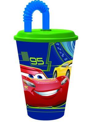 Стакан пластиковый с соломинкой и крышкой (спортивный, 430 мл). Тачки 3 Stor. Цвет: зеленый, красный, синий