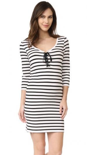 Платье Body со шнуровкой HATCH. Цвет: черный/белая полоска
