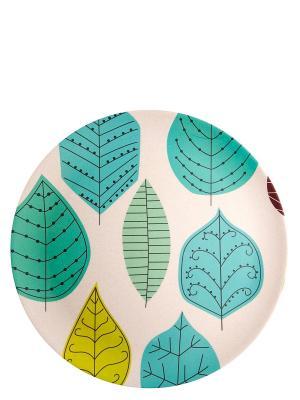 Тарелка обеденная Ливз, 4 шт. Ecowoo. Цвет: голубой, белый
