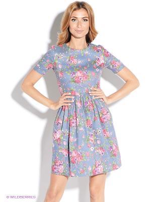 Платье TuttoBene. Цвет: голубой, розовый
