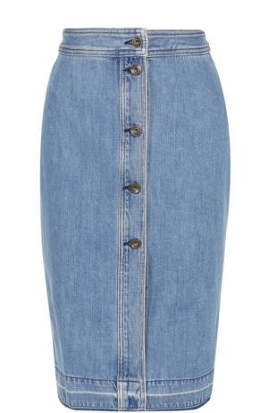 Джинсовая юбка-миди с потертостями Rag&Bone. Цвет: голубой