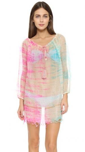 Пляжное платье, окрашенное в стиле узелкового батика Juliet Dunn. Цвет: оранжевый/фуксия/бирюзовый