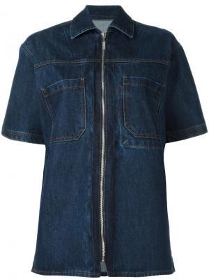 Джинсовая рубашка на молнии Each X Other. Цвет: синий