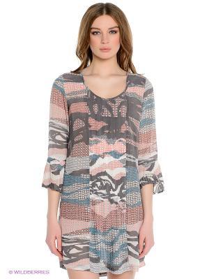 Платье Not The Same. Цвет: темно-серый, молочный, коралловый