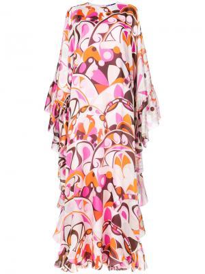 Платье-кафтан с принтом Emilio Pucci. Цвет: розовый и фиолетовый