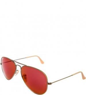 Очки-авиаторы с красными линзами Ray Ban. Цвет: золотистый