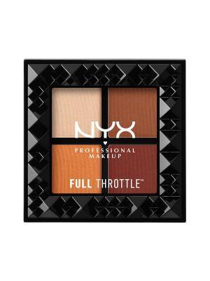 Палетка теней для век. FULL THROTTLE SHADOW PALETTE - COLOR RIOT NYX PROFESSIONAL MAKEUP. Цвет: бежевый, коричневый, темно-коричневый
