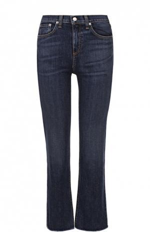 Укороченные джинсы с завышенной талией и потертостями Rag&Bone. Цвет: синий