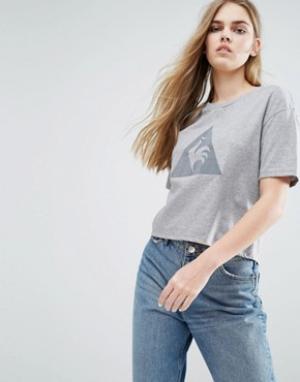 Le Coq Sportif Короткая футболка с большим логотипом. Цвет: серый