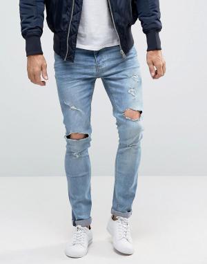 Brave Soul Рваные джинсы скинни. Цвет: синий