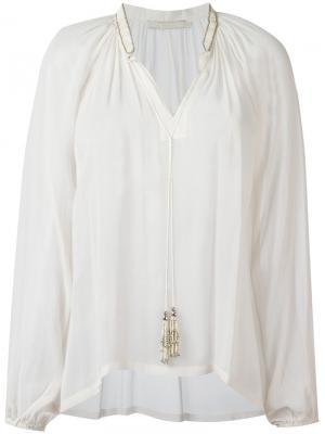 Блузка с кисточками на воротнике Amen. Цвет: телесный