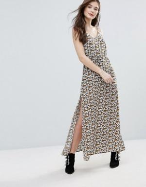 Goldie Платье макси с принтом и разрезами по бокам Long Island. Цвет: мульти