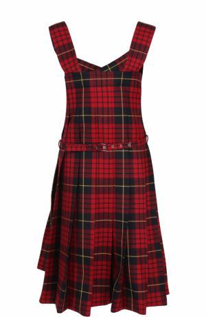 Шерстяное платье в клетку с поясом Comme des Garcons. Цвет: разноцветный