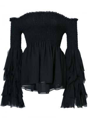 Flared bardot blouse Caroline Constas. Цвет: чёрный