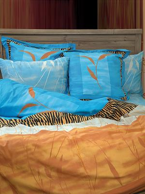 Постельное белье Целестин Тет-а-Тет. Цвет: голубой, оранжевый, черный