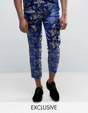 Reclaimed Vintage Парчовые брюки. Цвет: темно-синий