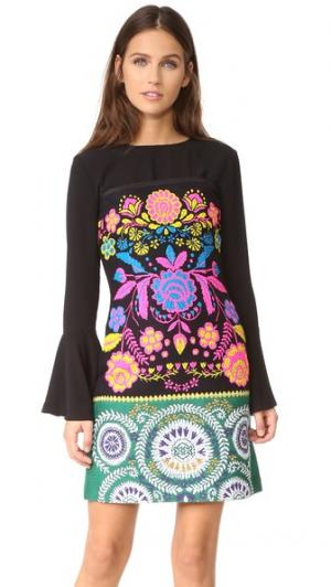 Платье без бретелек из твида с цветочным рисунком Cynthia Rowley. Цвет: черный мульти
