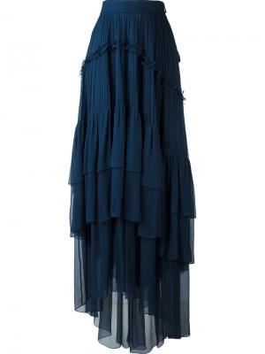 Плиссированная юбка с оборками Chloé. Цвет: синий
