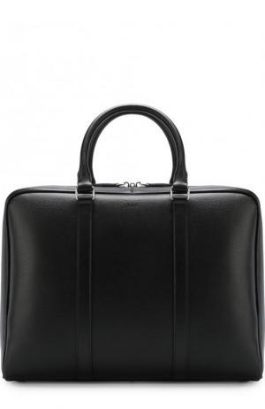 Кожаная сумка для ноутбука с плечевым ремнем Tod's. Цвет: черный