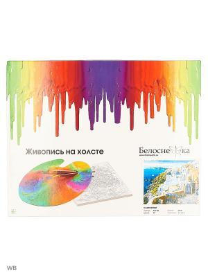 Набор для рисования - Живопись на холсте 40*50 см. Лодочная пристань (255-AB) Белоснежка. Цвет: белый