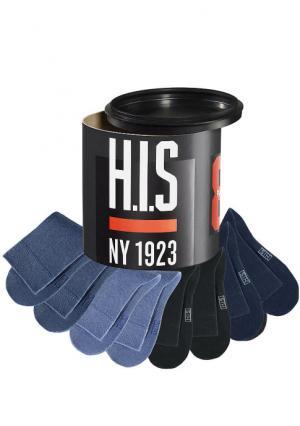 Носки, 8 пар H.I.S.. Цвет: 2х черный+2х темно-синий+2х джинсовый меланжевый+2х темный джинсовый меланжевый