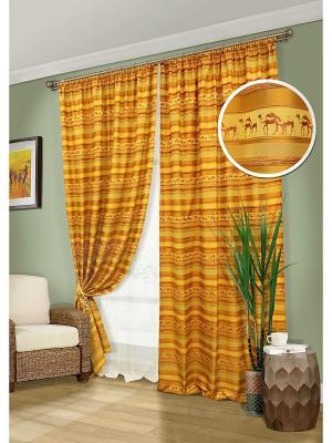 Комплект штор, Macassar-ST Kauffort. Цвет: оранжевый, желтый