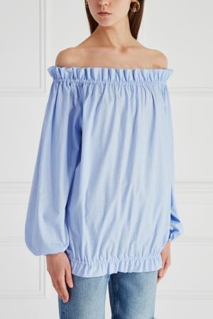 Хлопковая блузка Mixer. Цвет: голубой